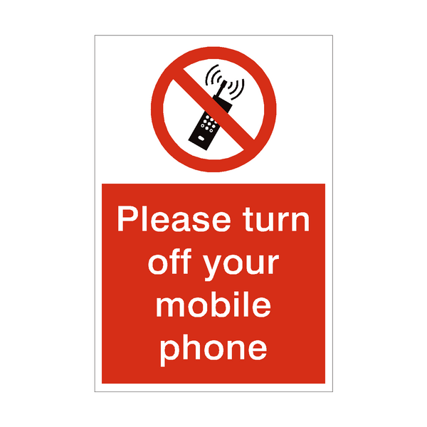 Turn Off Mobile Phone Sign | PVC Safety Signs