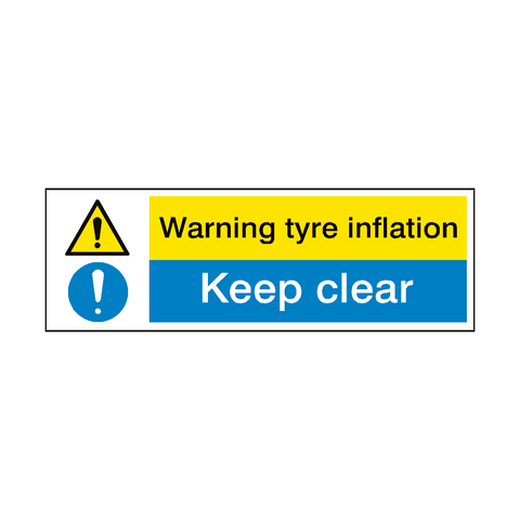 Tyre Inflation Hazard Garage Sign | PVC Safety Signs | Health and Safety Signs