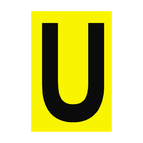 Letter U Yellow Sign | PVC Safety Signs