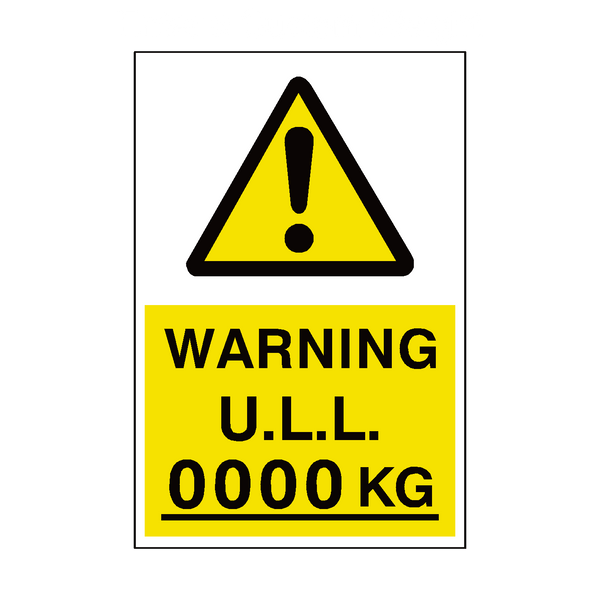 unladen Weight Sign Kg Custom Weight | PVC Safety Signs