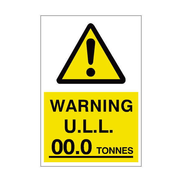 Unladen Weight Sign Tonnes Custom Weight | PVC Safety Signs