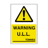 unladen Weight Sign Tonnes - PVC Safety Signs