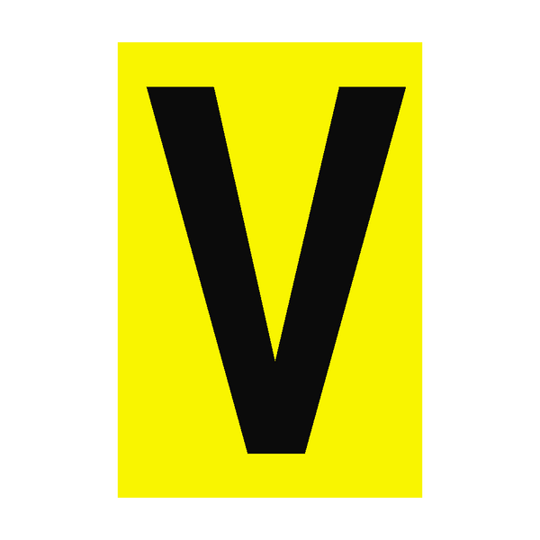 Letter V Yellow Sign | PVC Safety Signs