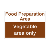 Vegetable Area Sign - PVC Safety Signs