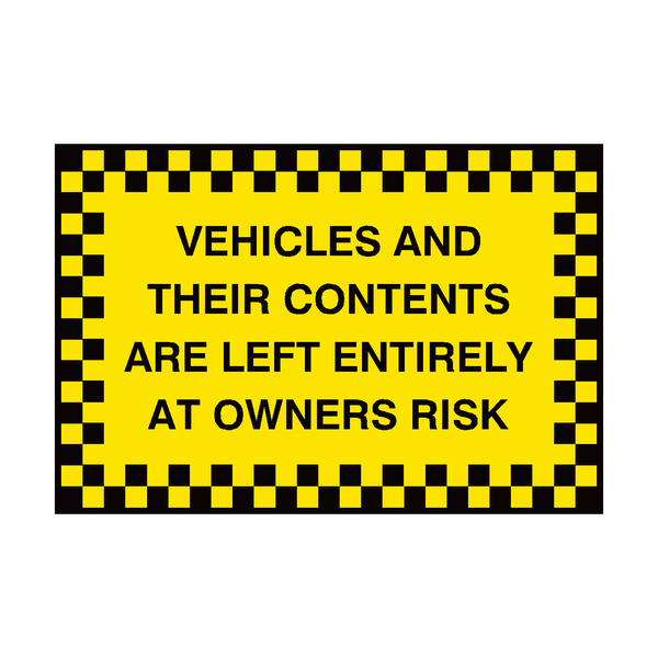 Vehicle Contents Security Sign - PVC Safety Signs