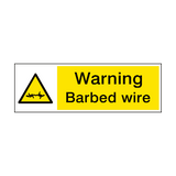 Warning Barbed Wire Hazard Sign | PVCSafetySigns.co.uk