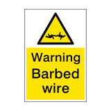 Warning Barbed Wire Sign Portrait | PVC Safety Signs