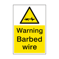 Warning Barbed Wire Sign Portrait | PVC Safety Signs | Health and Safety Signs