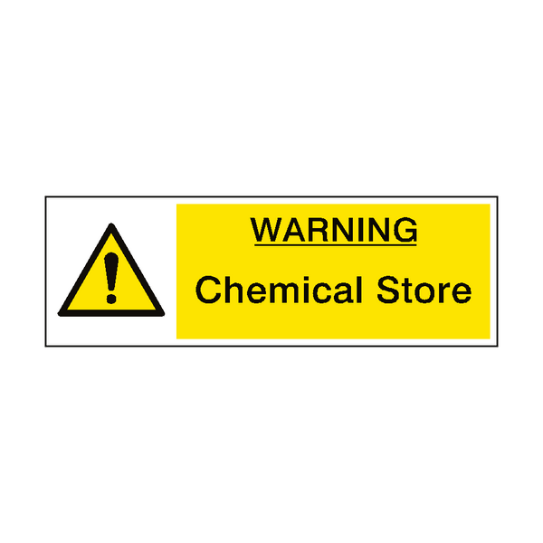 caution chemical store hazard sign pvc safety signs. Black Bedroom Furniture Sets. Home Design Ideas