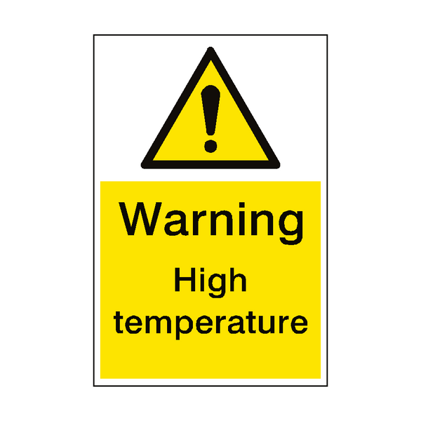 Warning High Temperature Sign Portrait - PVC Safety Signs