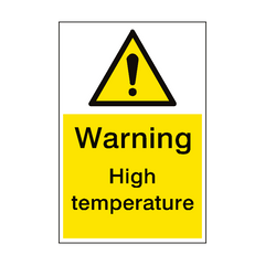 Warning High Temperature Sign Portrait | PVC Safety Signs | Health and Safety Signs