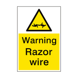 Warning Razor Wire Sign Portrait | PVC Safety Signs