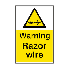 Warning Razor Wire Sign Portrait | PVC Safety Signs | Health and Safety Signs