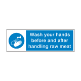 Wash Your Hands After Handling Raw Meat Sign | PVCSafetySigns.co.uk