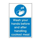 Wash Your Hands Cooked Meat Sign | PVCSafetySigns.co.uk