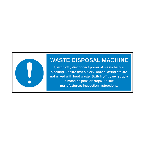 Waste Disposal Machine Instructions Sign | PVC Safety Signs