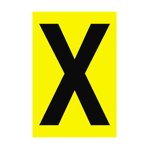 Letter X Yellow Sign - PVC Safety Signs