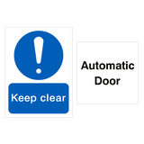 Automatic Keep Clear Door Sign Pack - PVC Safety Signs