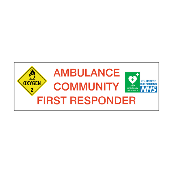 Ambulance Community First Responder sign | PVC Safety Signs