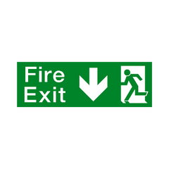 Fire Exit Arrow Down Sign - PVC Safety Signs | Safety Signs Specialists