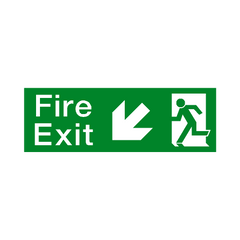 Fire Exit Arrow Down Left Sign - PVC Safety Signs | Safety Signs Specialists