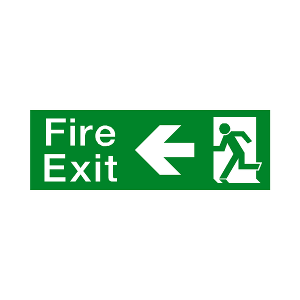 Fire Exit Arrow Left Sign | PVCSafetySigns.co.uk