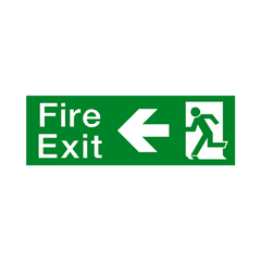 Fire Exit Arrow Left Sign - PVC Safety Signs | Safety Signs Specialists