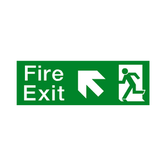 Fire Exit Arrow Up Left Sign - PVC Safety Signs | Safety Signs Specialists