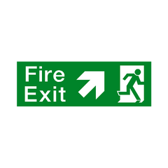 Fire Exit Arrow Up Right Sign - PVC Safety Signs | Safety Signs Specialists