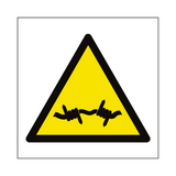 Barb Wire Hazard Symbol Sign - PVC Safety Signs