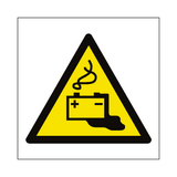 Battery Charging Hazard Symbol Sign - PVC Safety Signs
