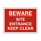 Site Entrance Keep Clear Sign - PVC Safety Signs