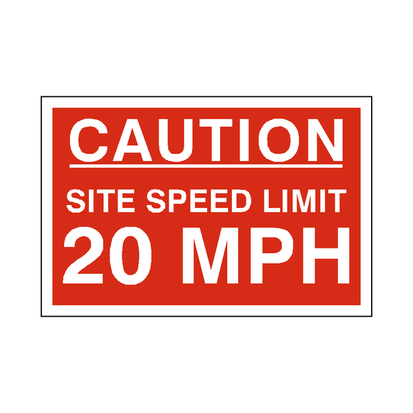 20 Mph Site Speed Limit Sign - PVC Safety Signs