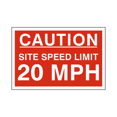 20 Mph Site Speed Limit Sign | PVC Safety Signs | Health and Safety Signs
