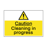 Caution Cleaning In Progress Sign | PVCSafetySigns.co.uk