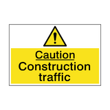 Caution Construction Traffic Sign | PVCSafetySigns.co.uk
