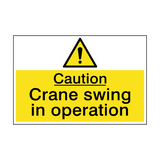 Caution Crane Swing Hazard Sign | PVCSafetySigns.co.uk