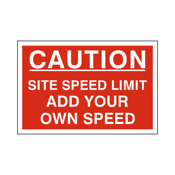 Custom Mph Site Speed Limit Sign | PVC Safety Signs