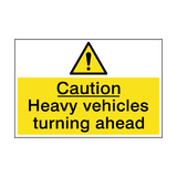 Caution Heavy Vehicles Turning Sign | PVC Safety Signs