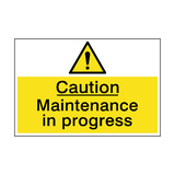 Caution Maintenance In Progress Sign | PVCSafetySigns.co.uk