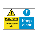 Construction Site Keep Clear Dual Sign - PVC Safety Signs