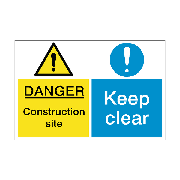 Construction Site Keep Clear Dual Sign | PVCSafetySigns.co.uk
