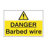 Danger Barbed Wire Hazard Sign | PVC Safety Signs