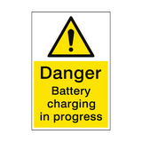 Danger Battery Charging Sign | PVCSafetySigns.co.uk