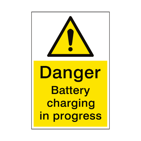 Danger Battery Charging Sign - PVC Safety Signs