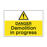 Danger Demolition In Progress Sign | PVCSafetySigns.co.uk