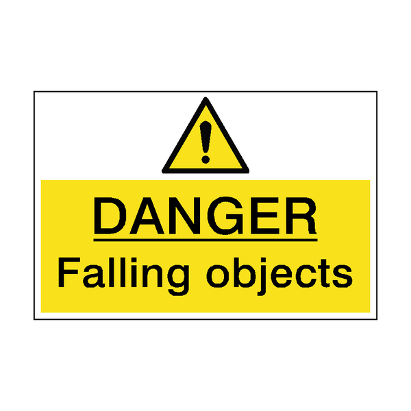 Danger Falling Objects Hazard Sign - PVC Safety Signs