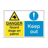 Guard Dogs Keep Out Dual Hazard Sign | PVCSafetySigns.co.uk