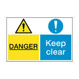 Danger Keep Clear Dual Hazard Sign | PVCSafetySigns.co.uk