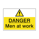 Danger Men At Work Hazard Sign | PVCSafetySigns.co.uk